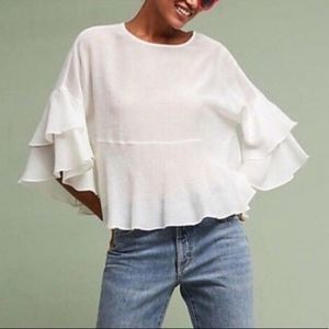 ERI + ALI | sz S white flutter sleeve blouse